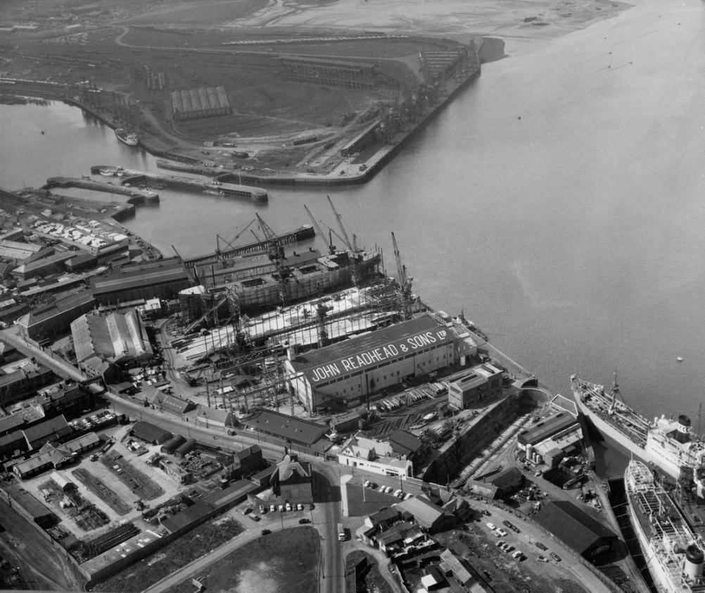 Aerial view of the shipyard of John Readhead & Sons
