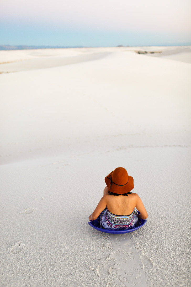 Sand Sledding at White Sands National Monument Las Cruces New Mexico USA