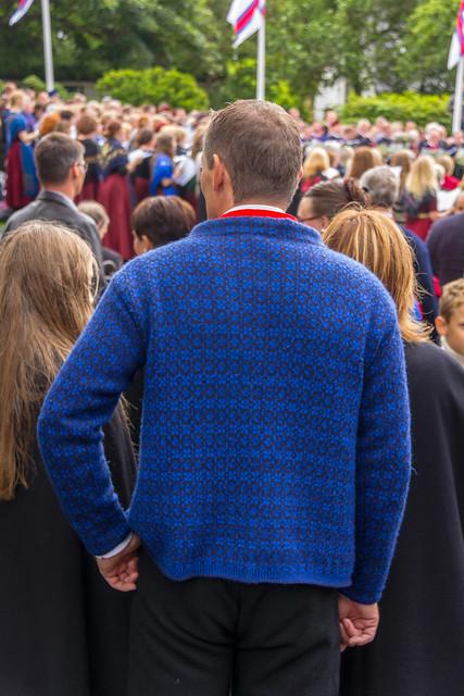 Young man in blue sweater at Ólavsøka / Ólafsvaka in Tórshavn, Faroe Islands