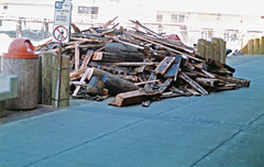 A Pile Of Debris Of What Was Once A Pier