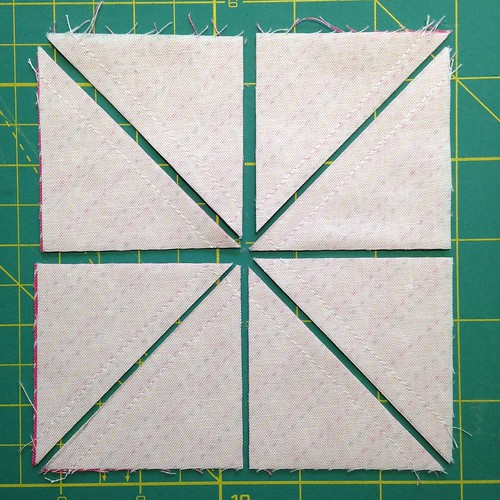 "8 half squares from two 5"" charms."