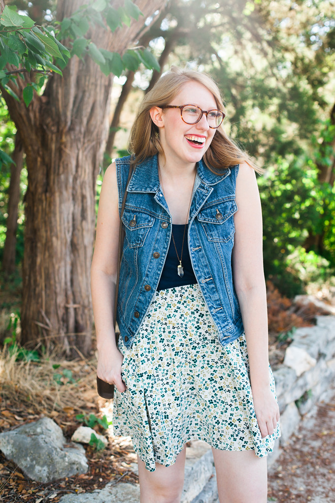 denim vest floral skirt7