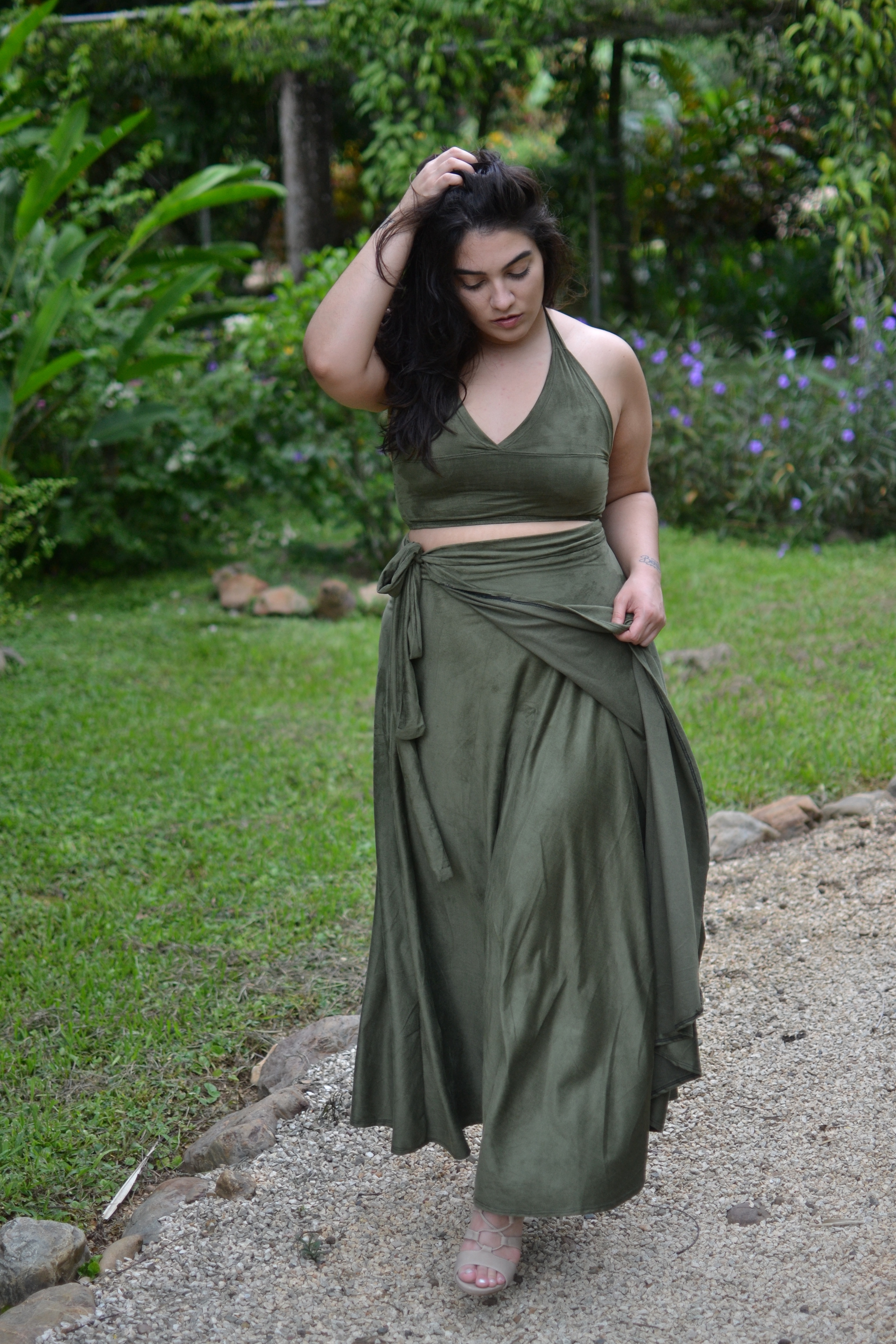 olive green 2 piece