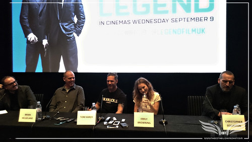 The Establishing Shot: LEGEND PRESS CONFERENCE - MODERATOR CHRIS HEWITT, DIRECTOR BRIAN HELGELAND, TOM HARDY, EMILY BROWNING & CHRISTOPHER ECCLESTON SHARE A JOKE - SOHO HOTEL, LONDON