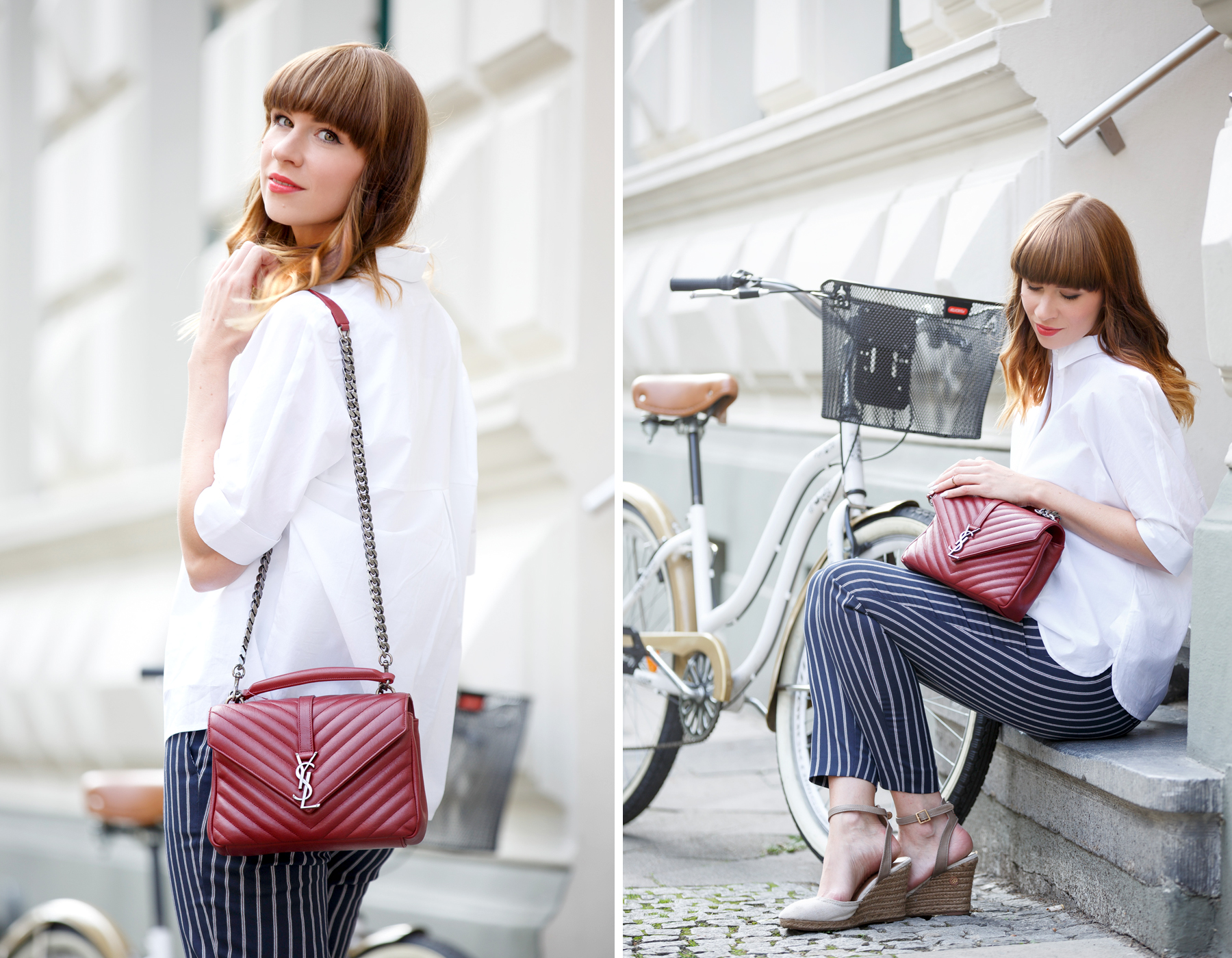 bike bicycle reserved georgia may jagger maritime ysl monogram bag red blue white outfit ootd look lookbook brunette bangs french parisienne parisian paris düsseldorf cute girly styling fashionblogger ricarda schernus cats & dogs blog 5