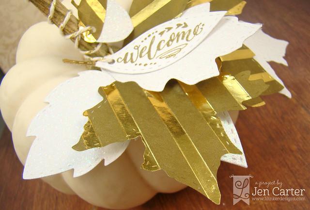 Jen Carter Gold Pumpkin Leaves Welcome Closeup 1