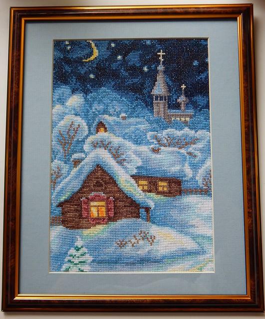 вышивка крестиком, картина Рождественская ночь