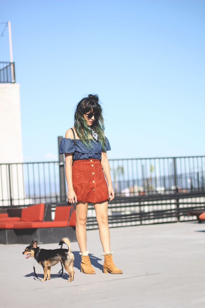 Off the shoulder chambray Motel Rocks top, suede scalloped Nasty Gal skirt, green ombre, bandana necktie, Chinese Laundry suede shoes