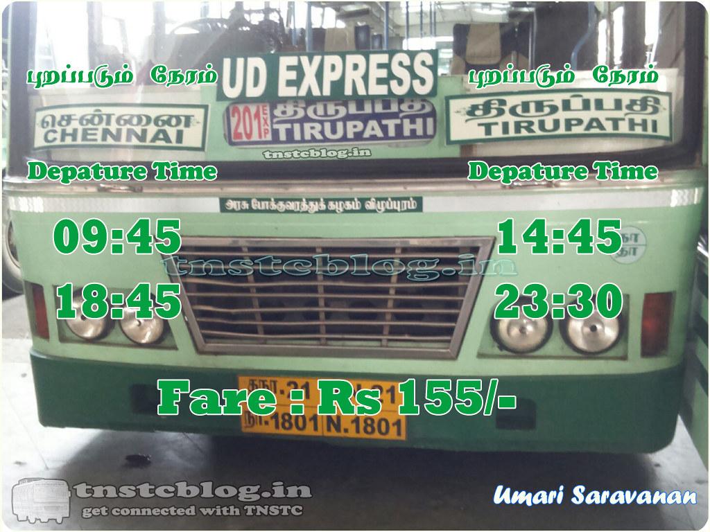 Chennai Tirupathi UD Timings and Fare