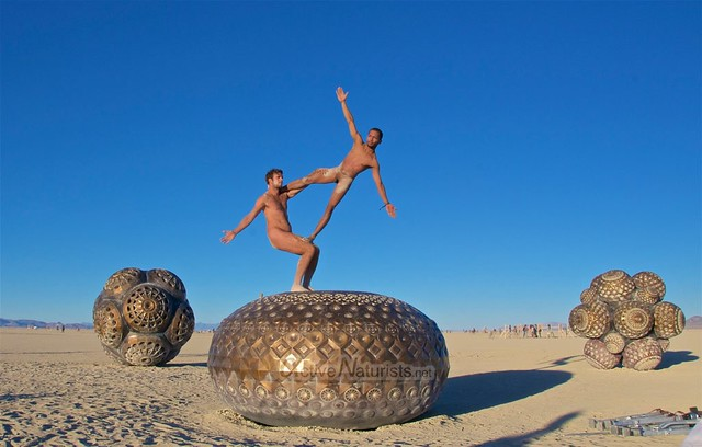 naturist acro-yoga gymnasium 0013 Burning Man 2015, Black Rock City, Nevada, USA