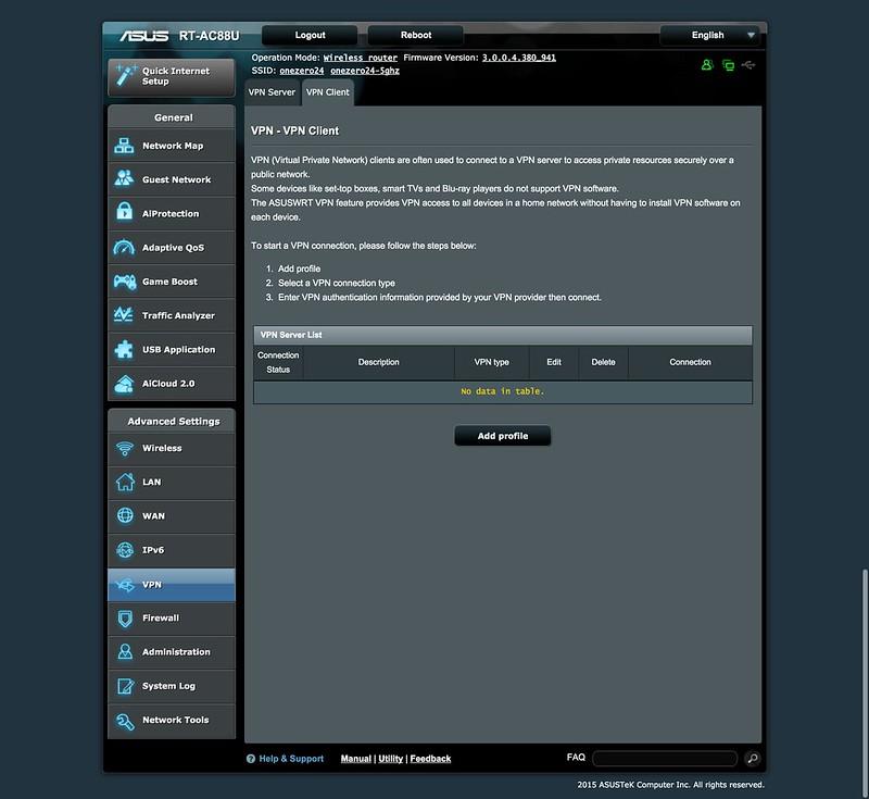 Asus RT-AC88U Router - UI - VPN Client