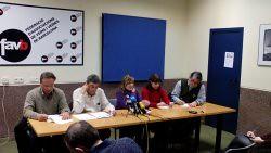 Imatge roda de premsa de L'alternativa sindical combativa s'organitza contra l'Acord Interprofessional de Catalunya d'UGT i CCOO amb les patronals catalanes