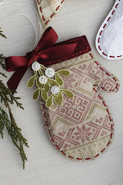 Puffy Mitten Ornament Using Beaded Holiday Stitch Kit, Merry Kiss-mas, and Fair Isle Borders
