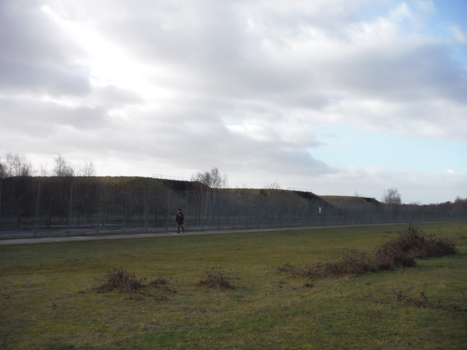 Greenham Common: Path along triple fence around missile bunker area SWC Walk 34 Newbury Racecourse to Woolhampton (Midgham Station)