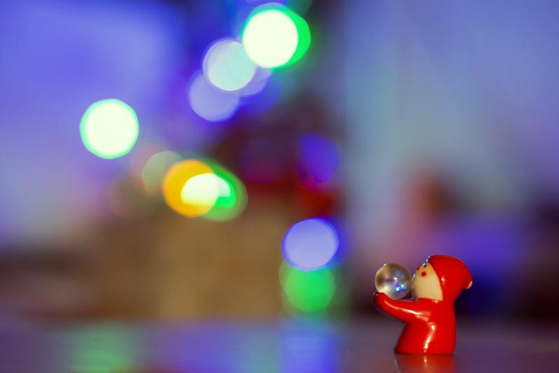 Little Santa and Bokeh Lights