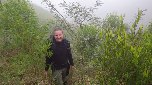 Michelle Smith standing next to a 2 year old Māmane tree that was planted in Nakula Natural Area Reserve.