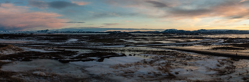 panorama sunrise iceland mývatn lake