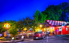 Central BBQ is illuminated at night in Memphis Tennessee