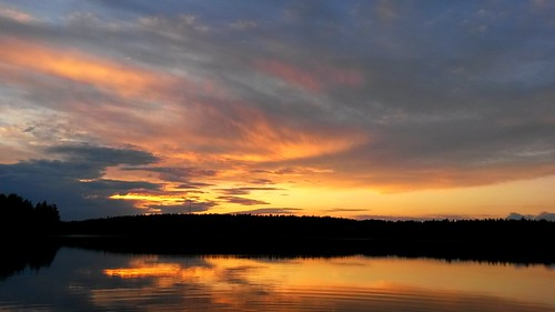 sunset summer sky lake color reflection water clouds finland landscape still colours calm serene lakescape kivijärvi luumäki sakarip