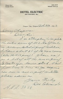 Deo Edwards letter to Chapmans re Half Cents