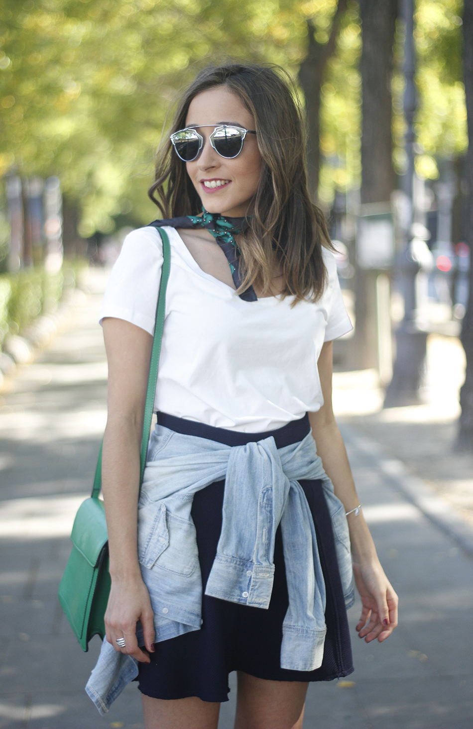 Blue Skirt Denim Shirt scarf Dior SoReal Sunnies12