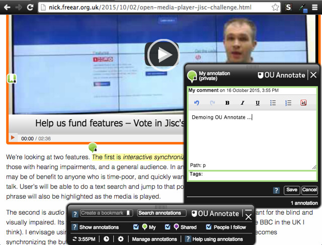 OU Annotate – in use on a page - screen shot 1