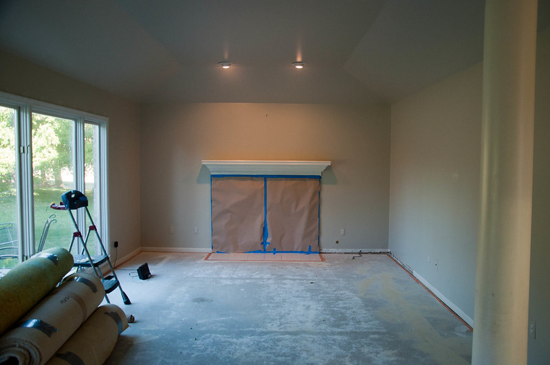 Family Room During Floor Installation