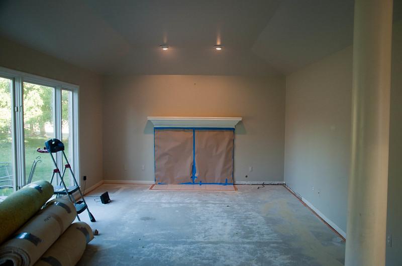 Family Room During Floor Installation
