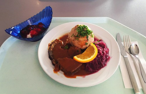 Marinated wild boar pot roast with red cabbage & bread dumpling / Sauerbraten von der Wildschweinkeule mit Blaukraut & Semmelknödel