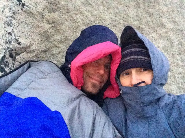 Alex and Erin cold at 5:30am at Las Torres