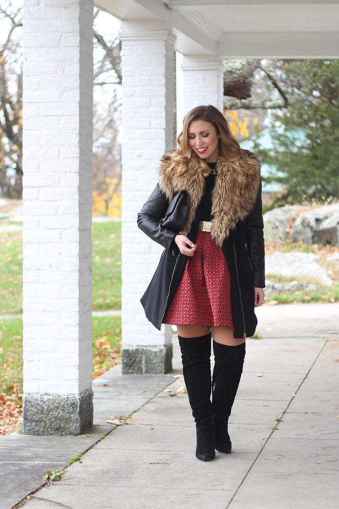Holiday Party Style | Printed Full Skirt | OTK Boots | Faux Fur Coat