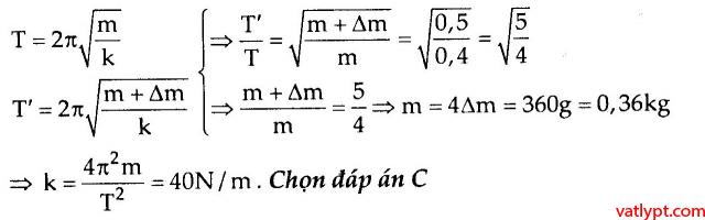 Bài tập xác định tần số góc, tần số, chu kỳ dao động điều hòa của con lắc lò xo