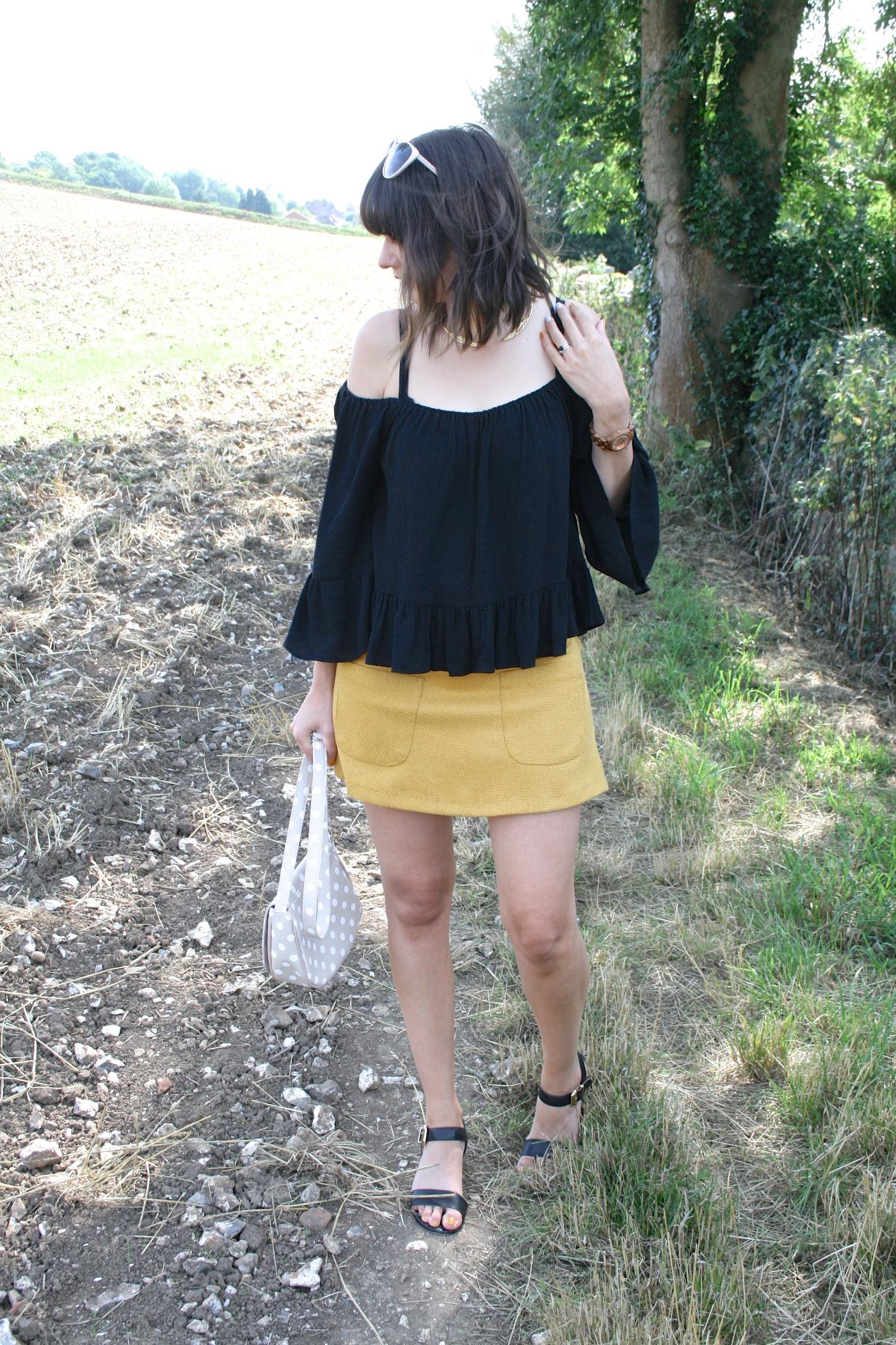 mustard Aline skirt