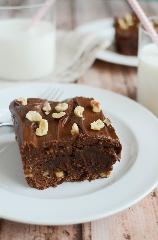Nutella Brownies - fudgy brownies with hazelnuts and a rich Nutella frosting!