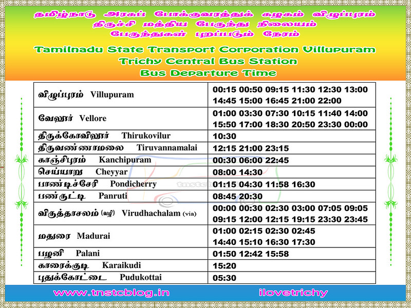 TNSTC Villupuram Bus Timings at Trichy