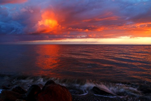 ocean sunset sea sky cloud seascape water denmark seaside purple outdoor dusk lolland maglehoej