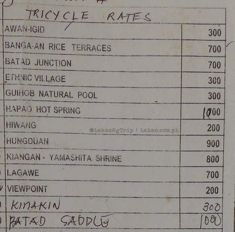 Price List of Transportations in Banaue