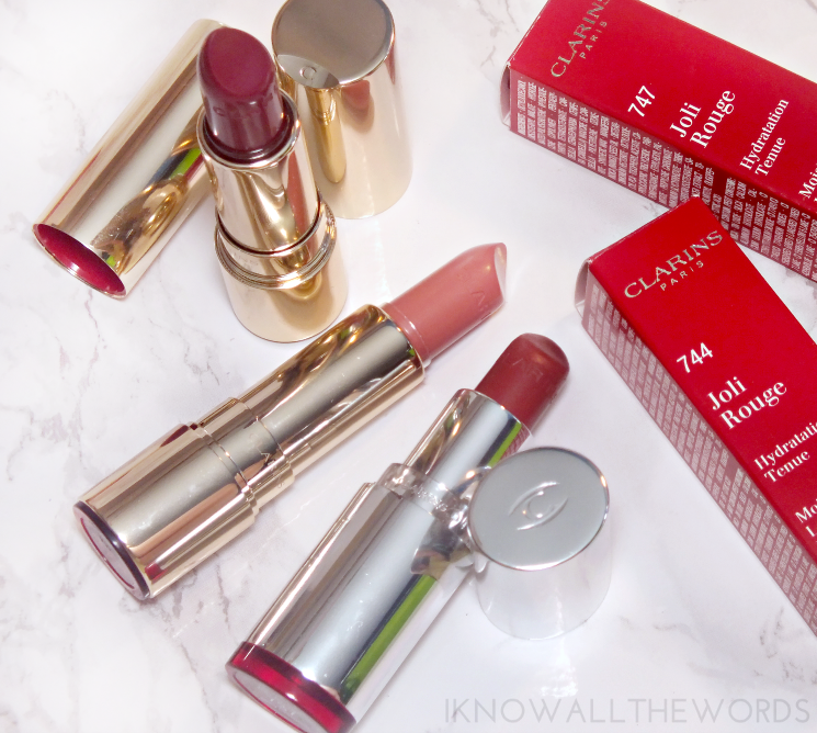 Clarins Joli Rouge 747 Rosey Nude 744 Soft Plum (3)