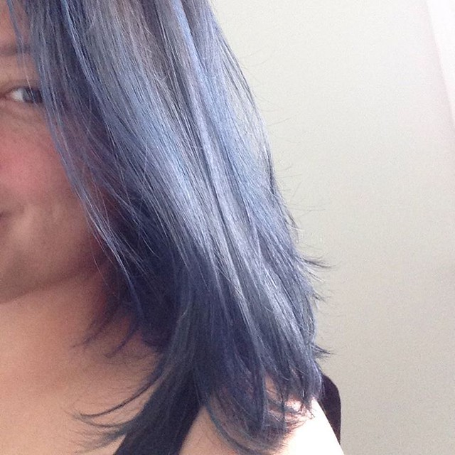 I blue myself. #bluehair #bluepillow