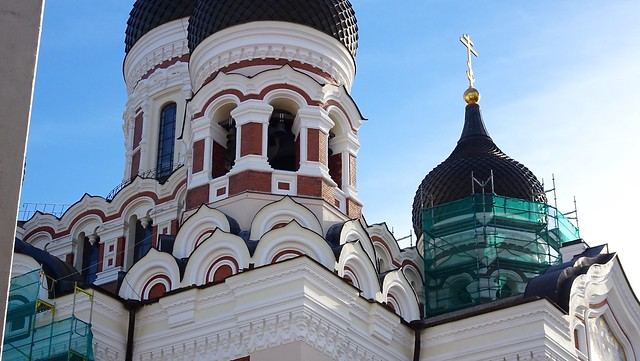 Russian Orthodox church, detail looking up