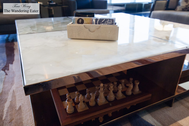 Large chess board under the marble coffeetable