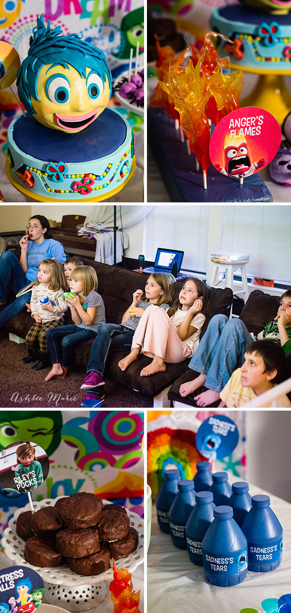 create your own inside out party that everyone will love, with character based treats like flaming cinnamon suckers, edible hockey pucks for Riley, water bottles for Sadness's tears and of course a cake for Joy