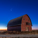 Planet Trio over Old Red Barn by Amazing Sky Photography