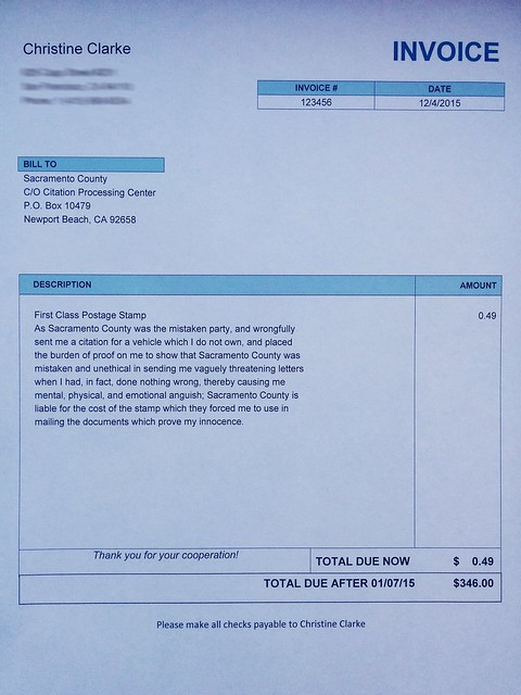 My Invoice I Sent to Sacramento County