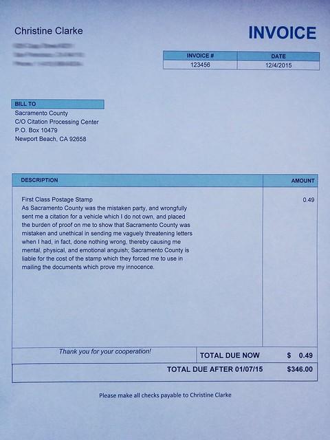 My Invoice I Sent to Sacramento County