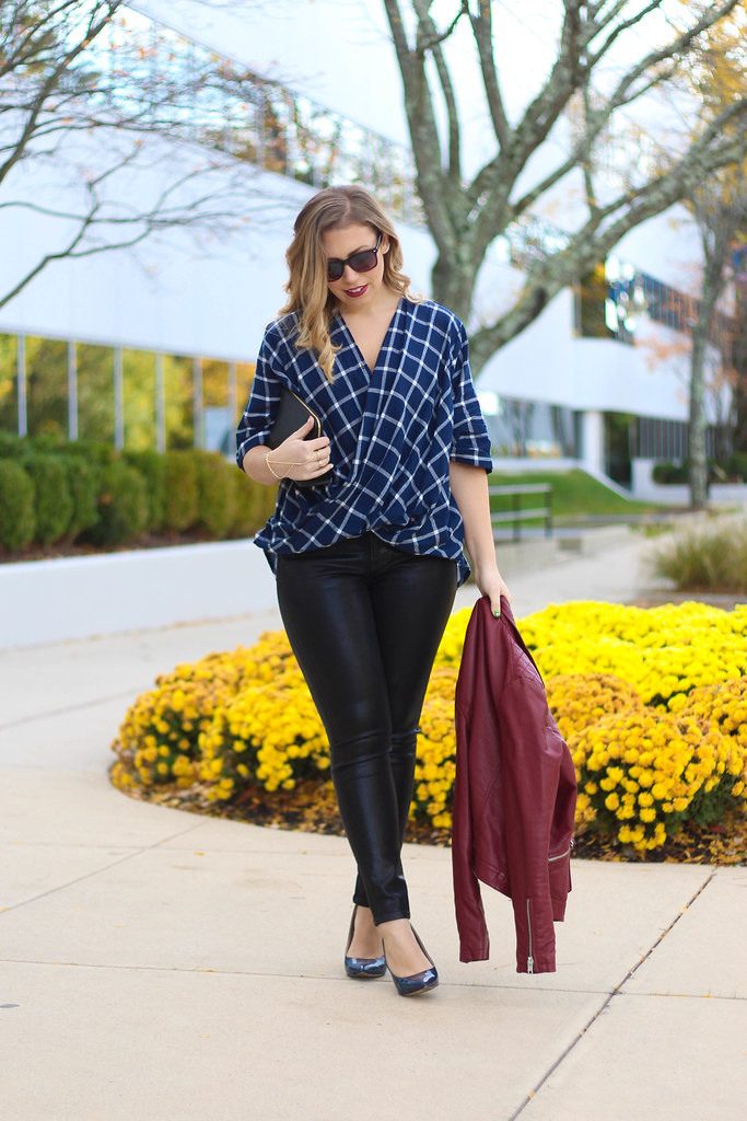 6 Ways to Wear Plaid | Plaid Wrap Top | Coated Spanx Jeans