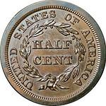 1845 Half cent reverse
