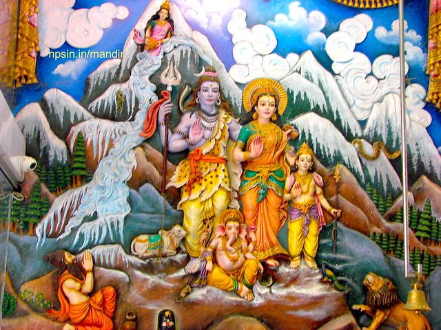 Shri Shiv Family and Ganga Katha on Temple Wall