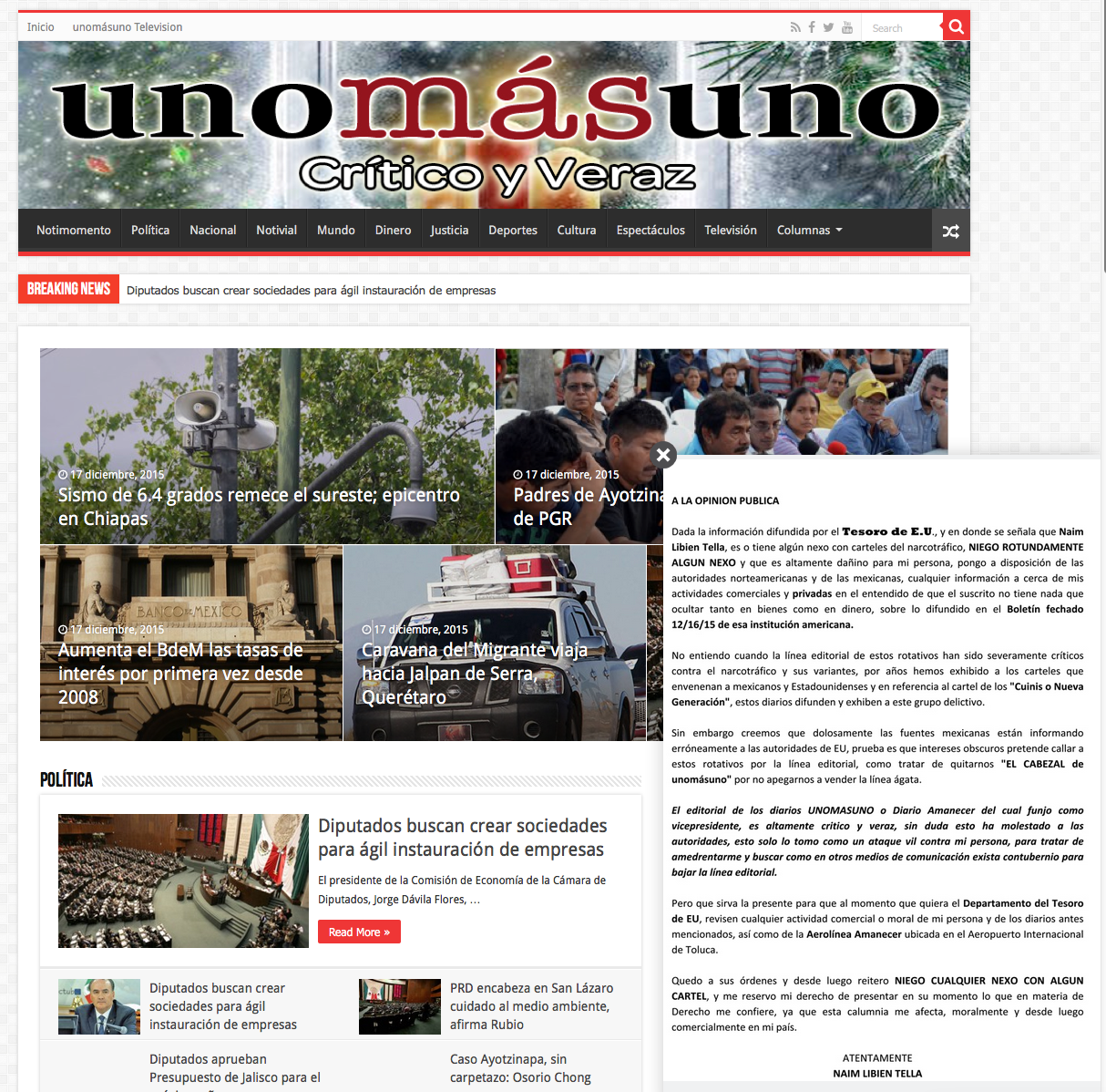 U S  Treasury accuses executive of Mexican newspapers of