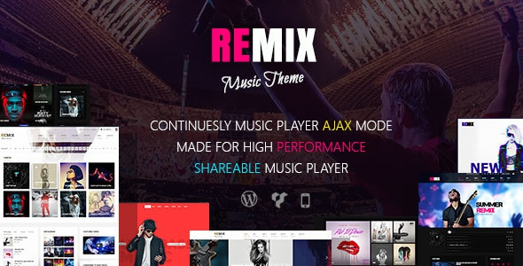 Remix v3.9 - Professional Music and Musician Ajax WP Theme